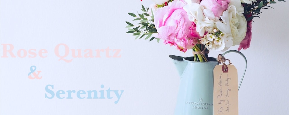 Blumen in serenity und rose quartz