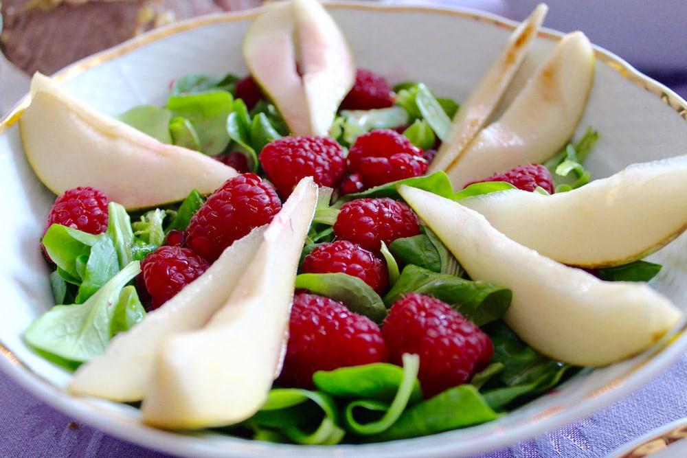 Himbeere Birnen Salat
