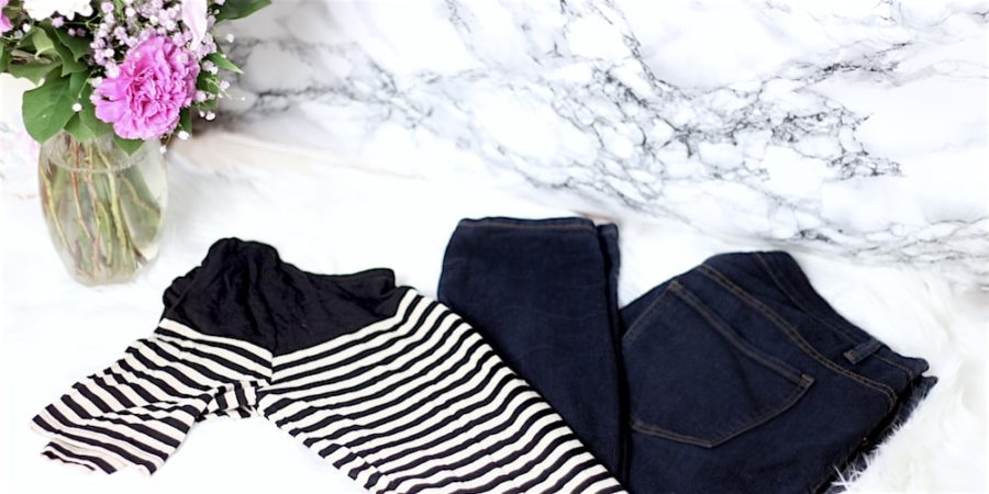 Stripe shirt and skinny jeans