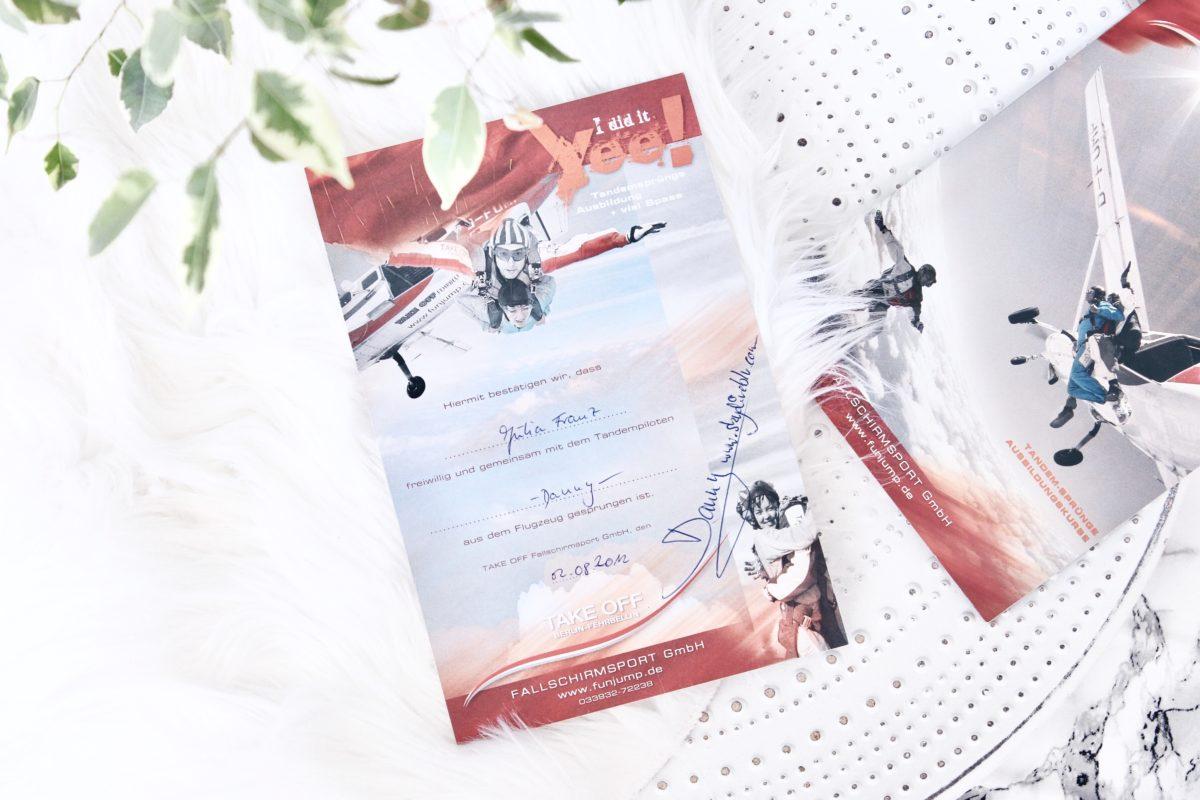 Urkunde für Fallschirmsprung in Fehrbellin